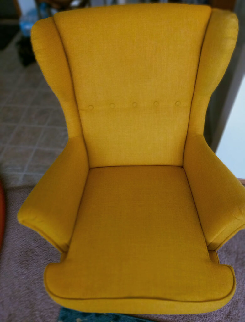 Gold Chair, Upholstery Cleaning After