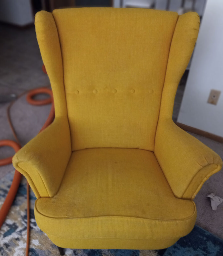 Gold Chair, Upholstery Cleaning Before